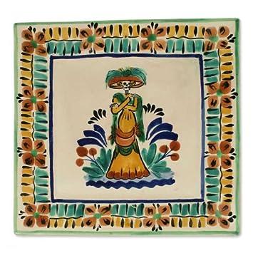 NOVICA Day Of The Dead Ceramic Decorative Bowl, Multicolor Catrina