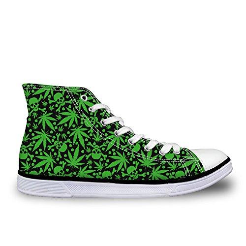HUGSIDEA Green Marijuana Skull Pattern Casual Canvas Round Toe Shoes High Top Sneakers for Men US9