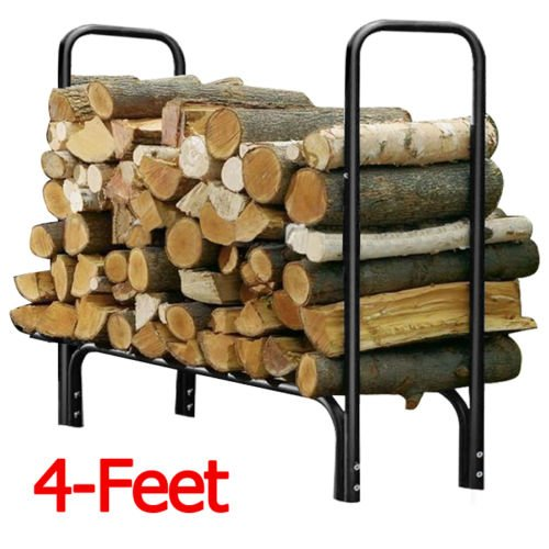 4 Feet Outdoor Heavy Duty Steel Firewood Log Rack Wood Storage Holder Black - Drawer Half Log