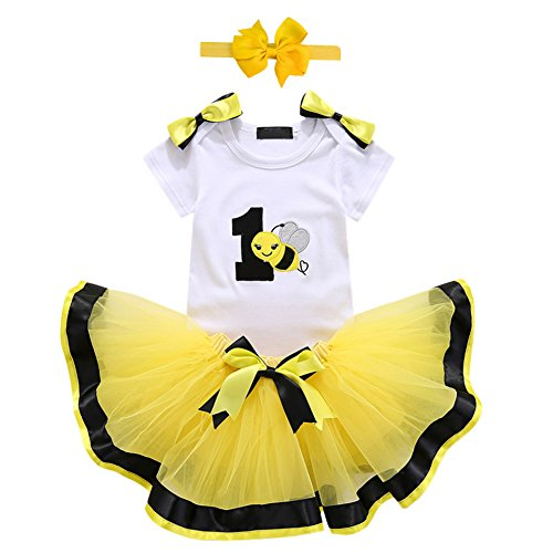 Baby Girls 1st Birthday Cake Smash 3pcs Outfits Set Cotton Romper Bodysuit+Tutu Dress+Flower Headband Princess Skirt Clothes Yellow Bee Bow One Size -