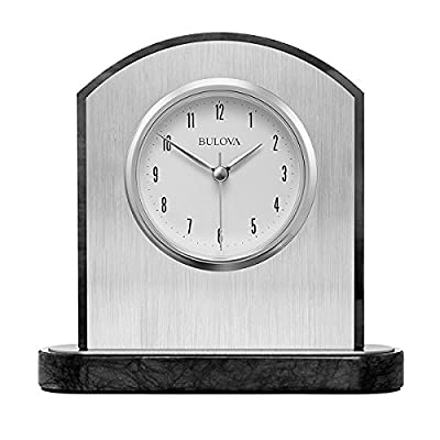 Bulova Mirage Table Clock - Dimensions: 7W x 2.5D x 6.75H in. Imported black polished marble Removable face plate in brushed silver - clocks, bedroom-decor, bedroom - 514hKTV85LL. SS400  -