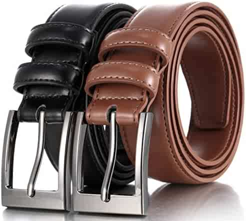 Marino's Men Genuine Leather Dress Belt with Single Prong Buckle - Black/Tan - 34
