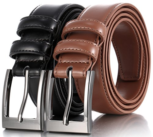 Marino's Men Genuine Leather Dress Belt with Single Prong Buckle - Black/Tan - -