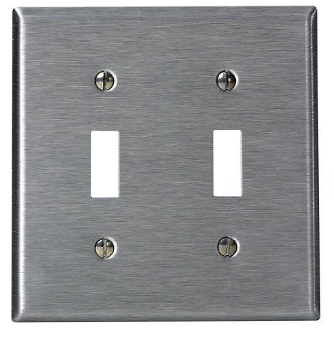 Leviton 84009-40 2-Gang Toggle Device Switch Wallplate, Standard Size, Device Mount, Stainless ()