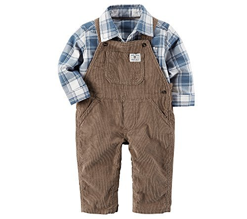 Carter's Baby Boys' 2 Piece Corduroy Overalls and Plaid Shirt Set 3 (Plaid Boys Overalls)