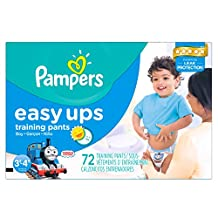 Pampers Easy Ups Boy Trainers Super Pack Size 5 S3T/4T, 72 Count