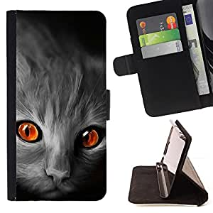 DEVIL CASE - FOR Apple Iphone 6 PLUS 5.5 - Cat Orange Eyes Grey Face Red Fire Flames - Style PU Leather Case Wallet Flip Stand Flap Closure Cover
