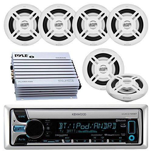 Plate Stereo Tube (Kenwood KMR-D765BT Bluetooth CD MP3 USB AUX AM/FM Marine Boat Stereo Receiver 6x 6.5 Dual Cone Marine Speakers 4 Ch Waterproof 400 Watt)