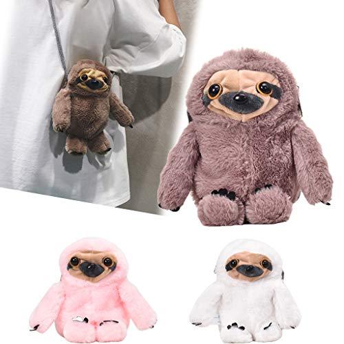 Jophufed Teddy Bear Sloth Kid Girl Cute Koala Plush Chain Diagonal Satchel Bag Shoulder Bag.(Pink)