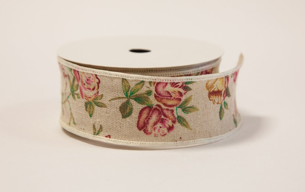 Decor Trader Burlap Rose Print Vintage Ribbon - Weddings Events - Decor Crafts (1.4inches X 10Yrd)
