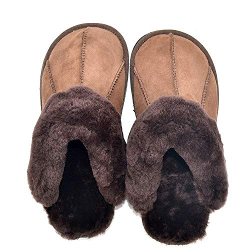 Millffy Mens Most Comfortable Sheepskin Leather Slippers Handmade Shoes for Men Indoor/Outdoor (US 7/8, Coffee) (Comfortable Chaise Most)