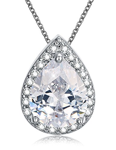 Mints Cubic Zirconia Necklace Pendant Teardrop Jewelry for Women 18 inches Cable Chain