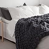 Dark Grey Chunky Blanket Wool Yarn Blanket Handmade Knit Blanket Giant Throw Super Big Bulky Arm Knitting Home Decor Birthday Gift