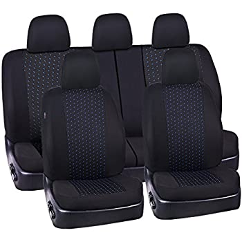 CAR PASS 11PCS Supreme Universal Jacquard Car Seat Covers Set -Universal fit for Vehicles,Cars,SUV,Airbag Compatible(Black and Blue)