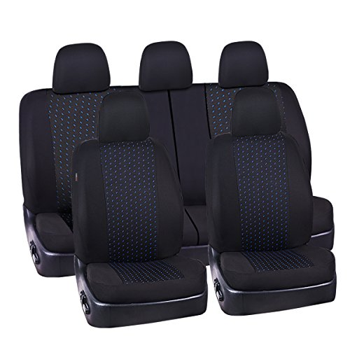 NEW ARRIVAL- CAR PASS 11PCS Supreme Universal Jacquard Car Seat Covers Set -Universal fit for Vehicles,Cars,SUV,Airbag Compatible(Black and Blue)