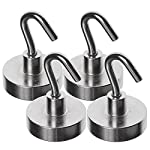 Strong 40LB Magnetic Hooks - Powerful Heavy Duty Neodymium Magnet - 4 Hook Set - Great For Your Refrigerator And Other Magnetic Surfaces - Super Strong And Will Not Scratch by Simply Hooked