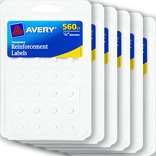 Avery Self-Adhesive Reinforcement Labels, 1/4