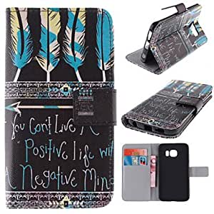 zxc Tribal Feather Patterns PU Leather Full Body Case with Stand and Card Slot for Samsung Galaxy S6 edge