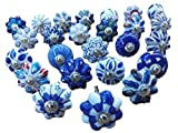 #9: Set of 25 Blue and white hand painted ceramic pumpkin knobs cabinet drawer handles pulls