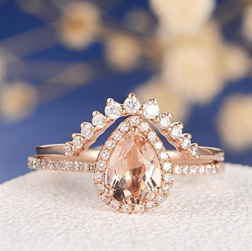 Amazon Com Unique Rose Gold Engagement Ring Pear Shaped Morganite