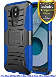 Moto E5 Plus Case, Moto E5 Supra Case, with Full Cover Tempered Glass Screen Protector, ATUS – Rugged Protective Kickstand Case with Holster (Black/Blue) For Sale