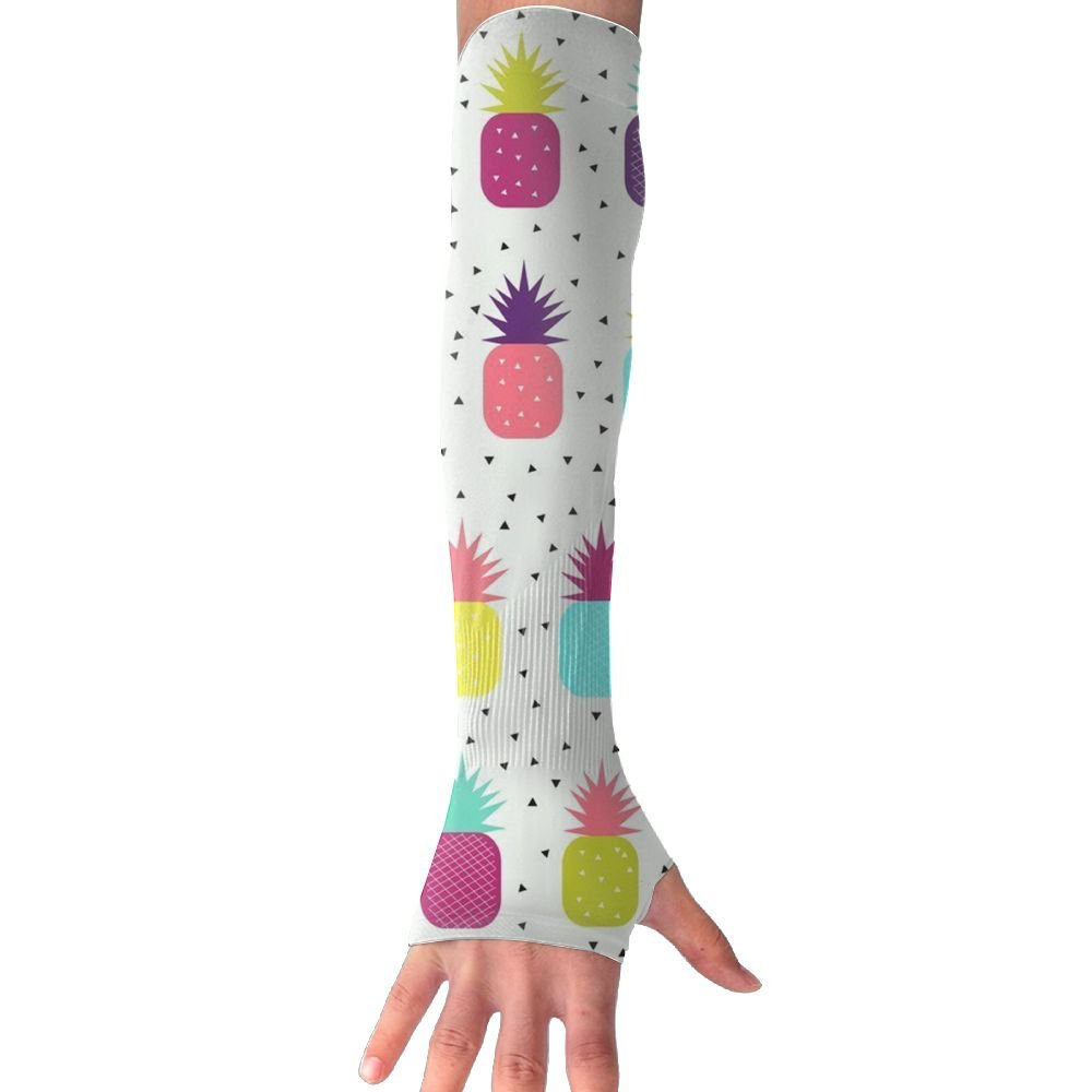 Huadduo Pineapples - Bright, Colourful, Neon, Women's Super Long Fingerless Anti-uv Sun Protection Golf Driving Sports Arm Sun Sleeves Gloves