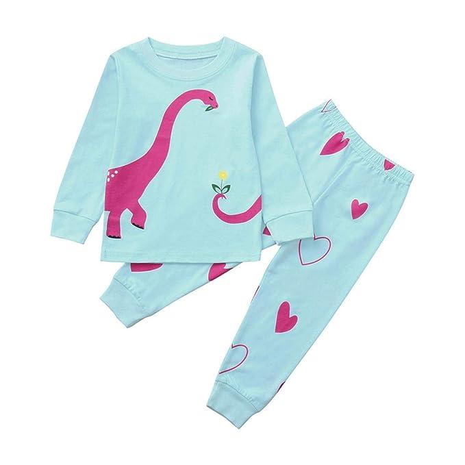beautyjourney Niñito Baby de Dos Piezas, Camisa de Pijama de Manga Larga de Dinosaurio de Dibujos Animados + Pantalones Conjunto de Ropa de niña: Amazon.es: ...