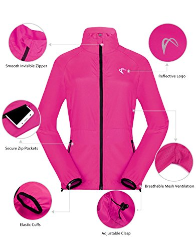 c0c6a15e3452 J. Carp Women's Packable Windbreaker Jacket, Lightweight and Water  Resistant, Active Cycling Running Skin Coat, Rose Red XL