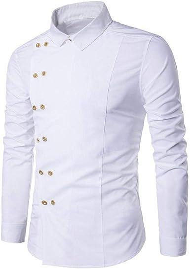 Adelina Camisa De Manga Larga De Corte Slim Casual Para Hombre Blusa Moda Completi Básica Urbana De Color Sólido Por Encima De La Personalidad Dobladillo Irregular Botón Asimétrico Sudadera Con Cuello: Amazon.es: