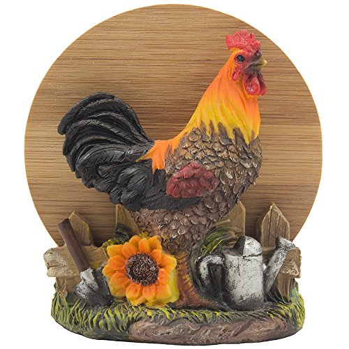 Decorative Farm Rooster Bamboo Drink Coaster Set with Holder Sculpture for Rustic Country Bar & Kitchen Decor Farm Animal Figurines As Chicken Beverage Display Stand Gifts for Farmers by Home-n-Gifts