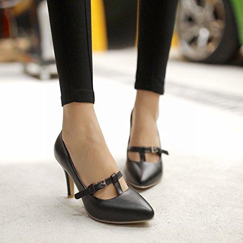 Scarpe Donna Latasa Con Fibbia A Punta Decorate Scarpe Col Tacco Alto Nero