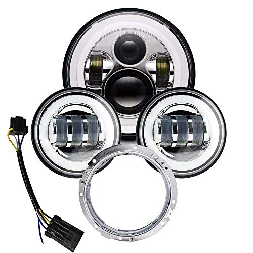 Used Kawasaki Motorcycle Parts - 7 inch LED Headlight 4.5 Fog Passing Lights DOT Kit Set Ring Motorcycle Headlamp for Harley Davidson Touring Road King Ultra Classic Electra Street Glide Tri Cvo Heritage Softail Deluxe Fatboy Black
