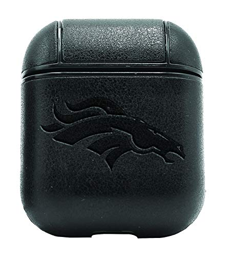 NFL The Denver Broncos (Vintage Black) Air Pods Protective Leather Case Cover - a New Class of Luxury to Your AirPods - Premium PU Leather and Handmade exquisitely by Master Craftsmen