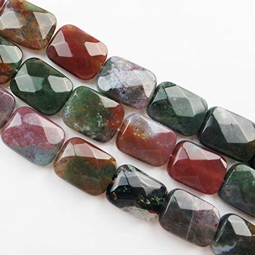 (Calvas (Min.Order 10$ Mix) Calvas Wholesale 13Pcs Faceted Indian Stone Oblong Loose Bead 16x13x6mm SHX974())