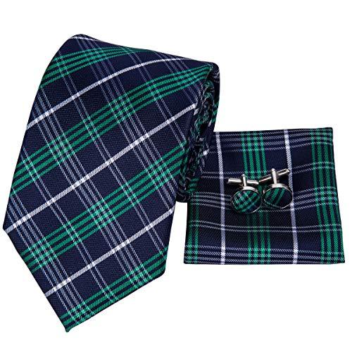 (Hi-Tie Men Blue Green Check Plaid Tie Necktie with Cufflinks and Pocket Square Tie Set)