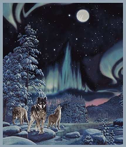 Northern Lights/Wolves Panel - One of a Kind Digital Print - 36'' x 44'' - 100% Cotton Quilt Fabric