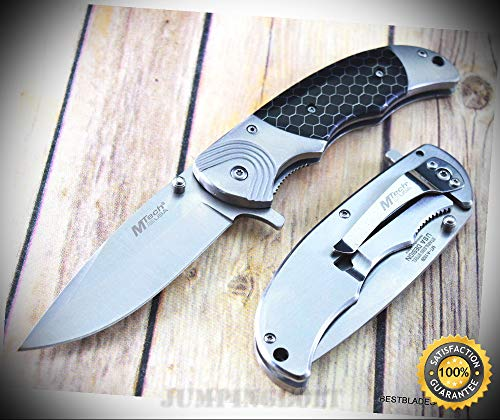 8 INCH MTECH SPRING ASSISTED SHARP KNIFE WITH POCKET CLIP C-TEK SCALES HANDLE - Premium Quality Hunting Very Sharp EMT EDC (Propeller Scale)