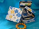 Cosmetic Organizer Jewelry Organizer Travel Pouch in Beautiful Yellow Blue Floral Design Made with Quilted Cotton by Colored Threadz