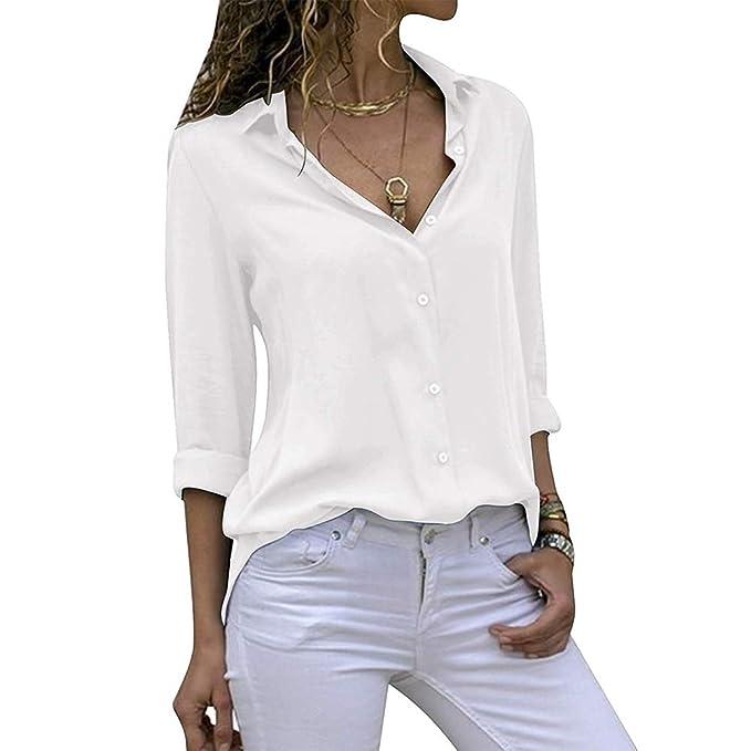 68b5907d95ba Decai Donna Camicia Bluse Chiffon Collo a V Bluse Manica Lunga OL Camicia  Botton Down Taglia Casual Loose Top Camicetta: Amazon.it: Abbigliamento