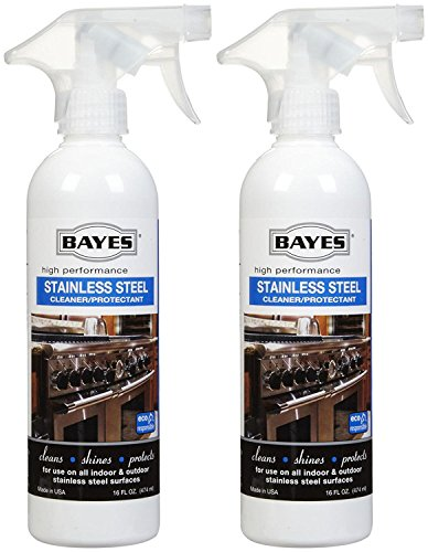 Bayes High-Performance Stainless Steel Cleaner, Polish, and Protectant - Cleans, Shines and Protects Indoor and Outdoor Stainless Steel Surfaces - 16 oz