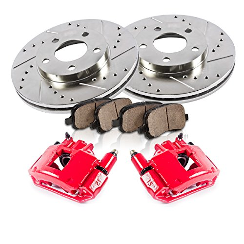 FRONT Powder Coated Red [2] Calipers + [2] Rotors + Quiet Low Dust [4] Ceramic Pads Performance Kit [ SN95 ]