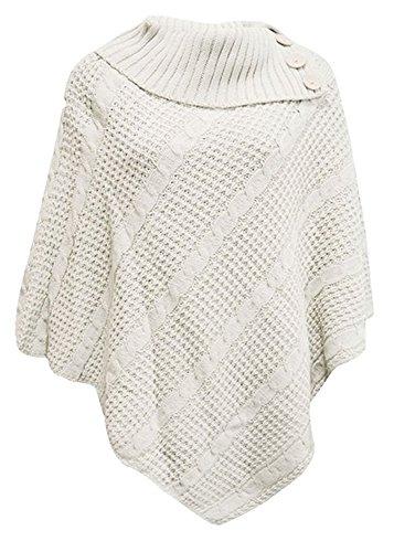 Les 3 Poncho pull bouton femmes tricot cardigan qFp0qZw