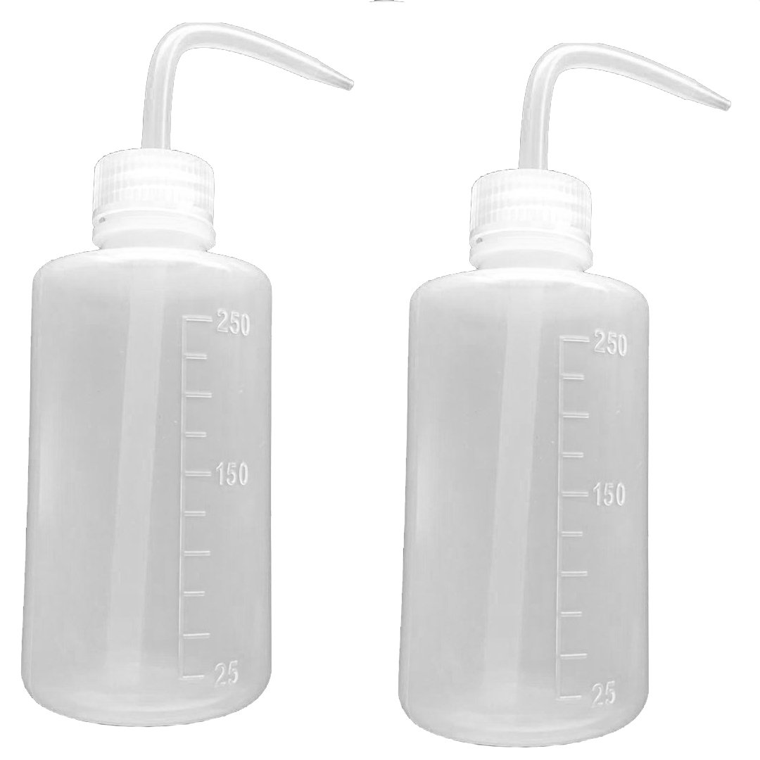 Safety Wash Bottle, Squeeze Bottle, Narrow Mouth, Plastic (250ml / 8oz / 2 Bottle)