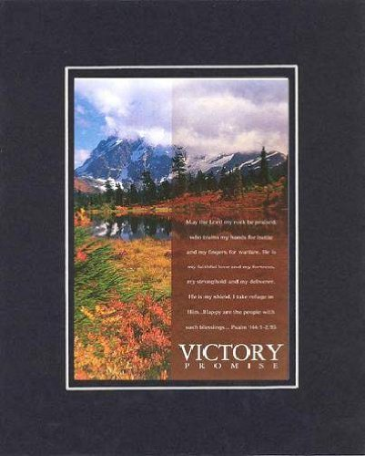 Victory Promise - Psalm 144:1-2, 25. . . 8 x 10 Inches Biblical/Religious Verses set in Double Beveled Matting (Black on Black) - A Timeless and Priceless Poetry Keepsake Collection