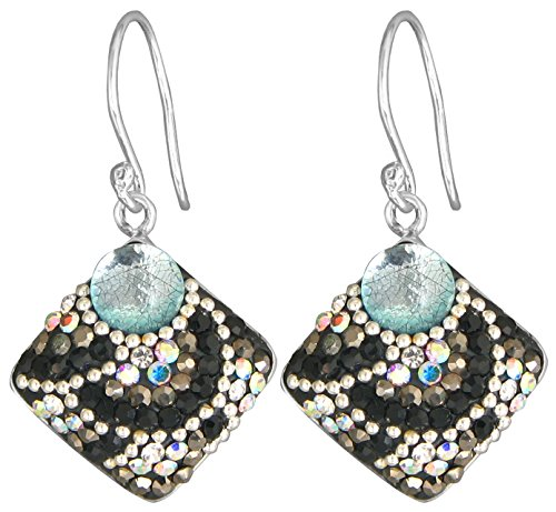 [Mosaico Sterling Silver Dichroic Glass and Preciosa Czech Crystals Square Dangle Earrings … (Clear, Silver and Black)] (Dichroic Glass Earrings)
