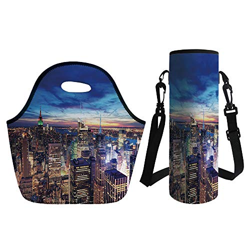 3D Print Neoprene lunch Bag with Kit Neoprene Bottle Cover,City,Empire State and Skyscrapers of Midtown Manhattan New York Aerial View at Dusk,Tan Navy Blue Aqua,for Adults Kids