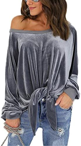 1da7c3023 ABD Women's Velvet Off Shoulder Front Tie Long Sleeve Shirt Pullover Blouse  Top