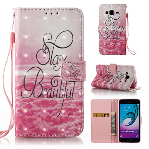 Funda Samsung Galaxy J310, Mariposas enamoradas Funda Libro de Cuero Flip Cover con TPU Case Interna Para Samsung Galaxy J310, Wallet Case con Soporte Plegable, Ranuras para Tarjetas y Billete Bello