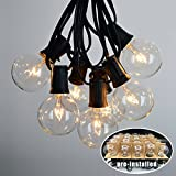 Vidagoods Pre-Installed 100 Ft G50 Outdoor Lighting Patio Party Globe String Lights Garden Fairy Backyard Market Xmas Party Holiday Lamp With 100 Intermediate Base Sockets + 125 Clear Bulb Set (Black)