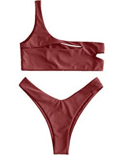 1f3121529c00e1 ZAFUL Womens Sexy One Shoulder Cut Out Bralette Bikini Set High Cut Bottom  Swimwear